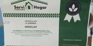 Certificado de desinfección de las instalaciones